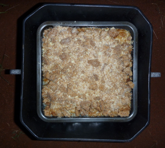 Connie's crumble in Mick's square camp oven